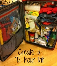 Create your 72 hour kit in a rolling suitcase | PreparednessMama