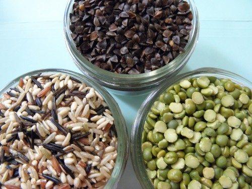 Buckwheat, Long Grain Rice and Split Peas