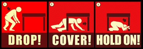DROP, COVER, and HOLD ON in an earthquake