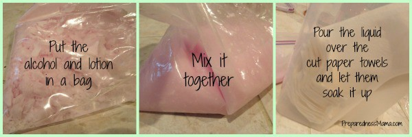 Put the alcohol and lotion in a bag, mix it together and and pour the ingredients over the paper towels. Antibacterial wipes | PreparednessMama