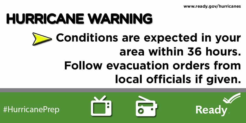 Hurricane Warning: Conditions are expected in your area withing the next 36 hours. Know your escape route | PreparednessMama