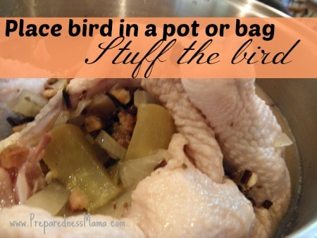 Pour the cooled brine over the bird and catch the spices inside | PreparednessMama