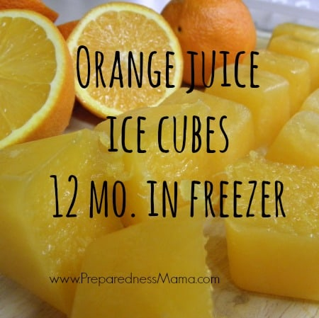 Orange Juice ice cubes will last 12 months in the freezer | PreparednessMama