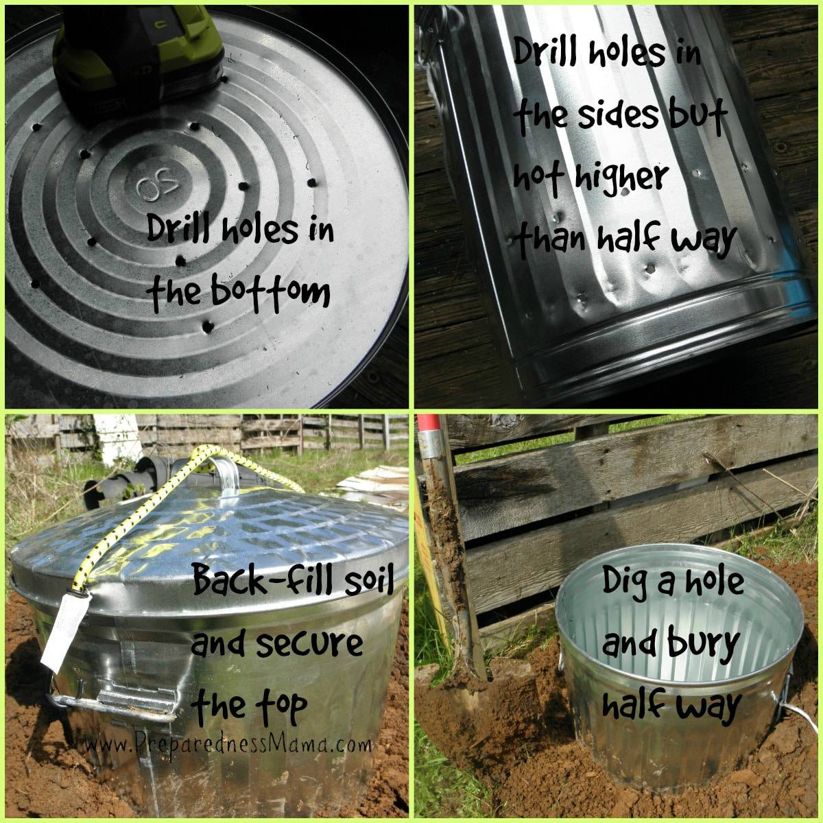 directions for making a kitchen scrap composter for under 20