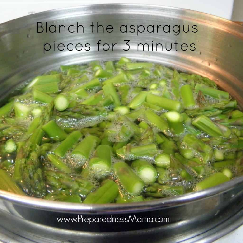 Dehydrating asparagus - blanch for 3 minutes in a rolling water bath   PreparednessMama
