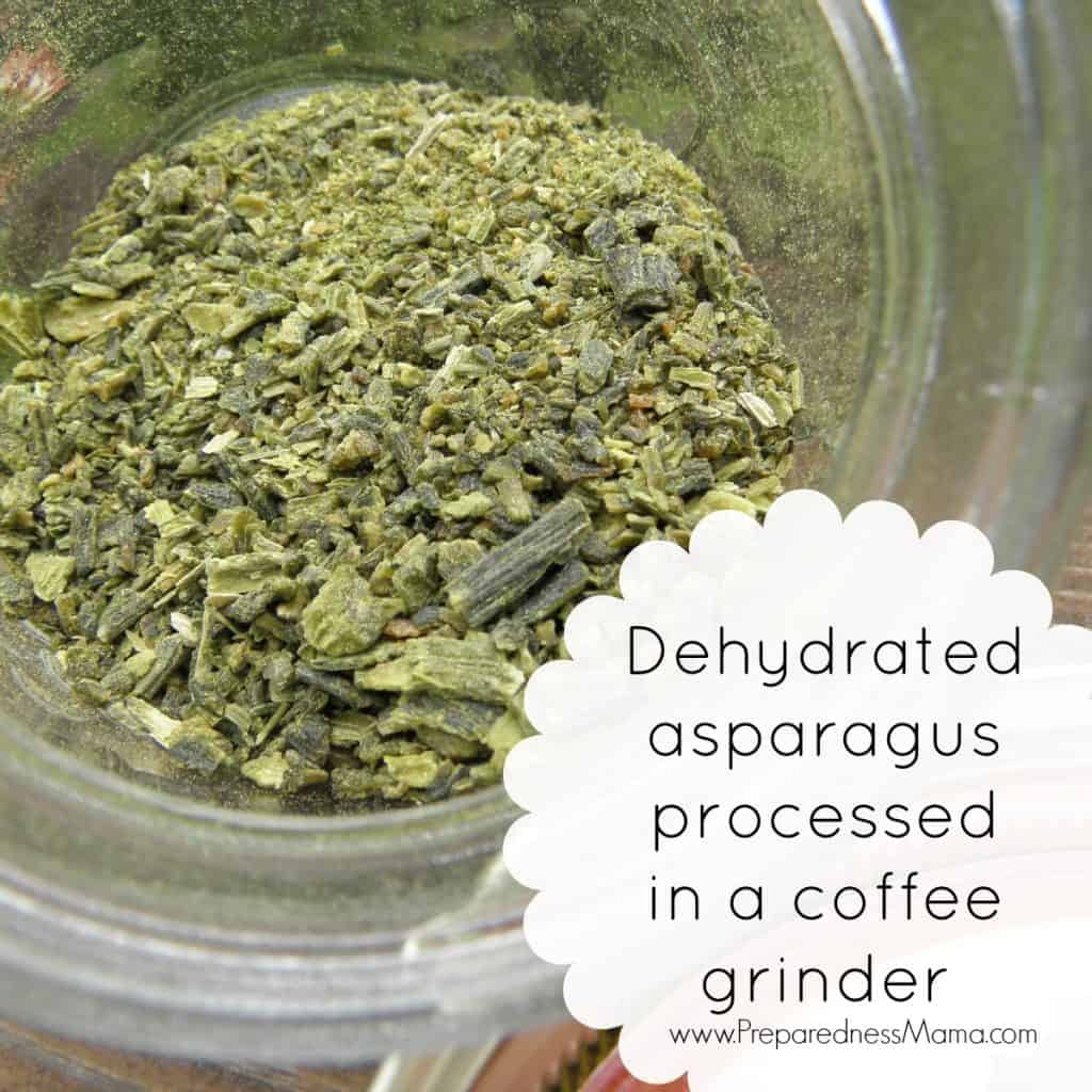 Dehydrating asparagus - make a powder by processing pieces in a coffee grinder | PreparednessMama