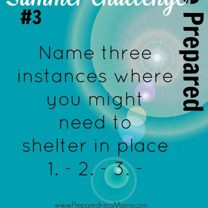 Be Prepared Summer Challenge Week 3 – Shelter in Place