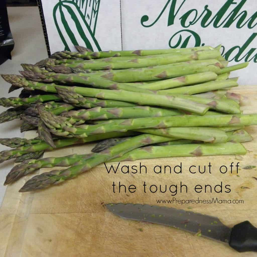 Dehydrating asparagus - wash and cut off the rough ends | PreparednessMama