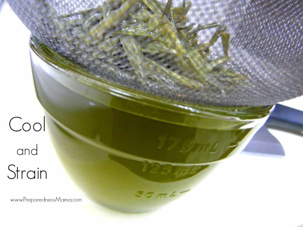 Cool the oil and then strain into a clean jar. Compost the herbs | PreparednessMama