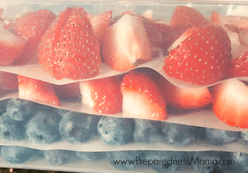 I like to freeze strawberries in plastic tubs instead of on trays. I've used plastic wrap between the layers, but the best result is with dehydrator sheets cut to size. | PreparednessMama