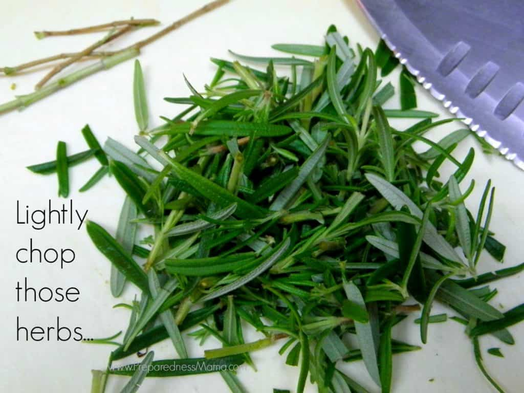 Lightly chop the herbs if you are using fresh from the garden | PreparednessMama