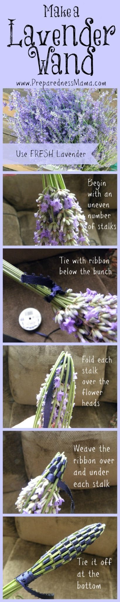 5 Useful and fun things to do with your lavender harvest - Make a lavender wand | PreparednessMama