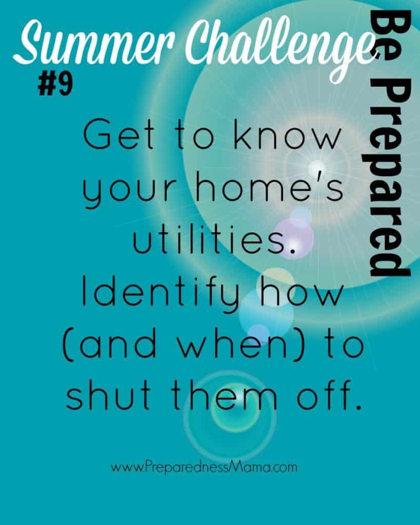 Be Prepared Summer Challenge Wk 9 - Utility Shutoff | PreparednessMama