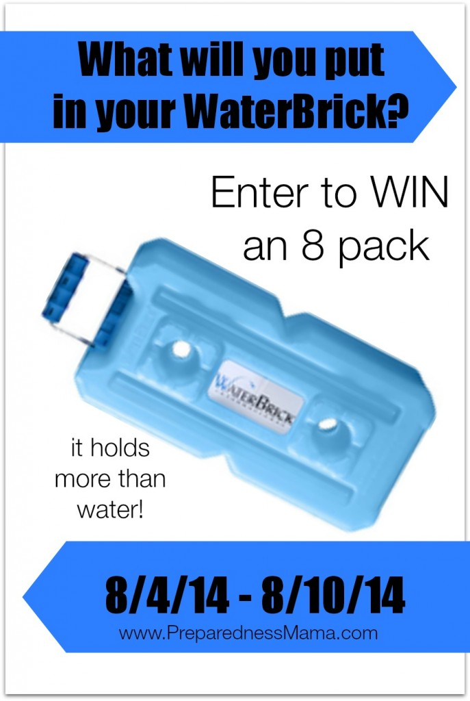 WaterBrick Giveaway - One lucky person will win 8 bricks. What will you put in yours? | PreparednessMama