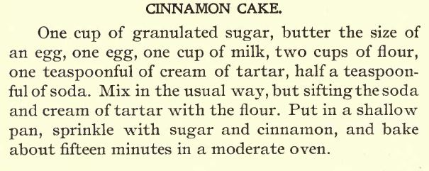Cinnamon Cake recipe from The Golden Age Cook Book 1898 | PreparednessMama