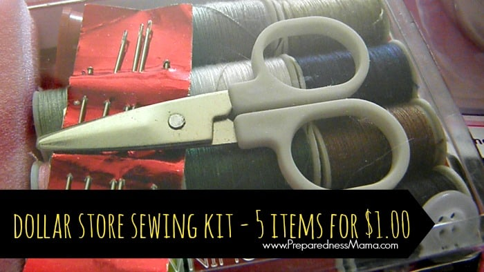 You can purchase a dollar store sewing kit for $1, but making a DIY kit will be more useful | PreparednessMama