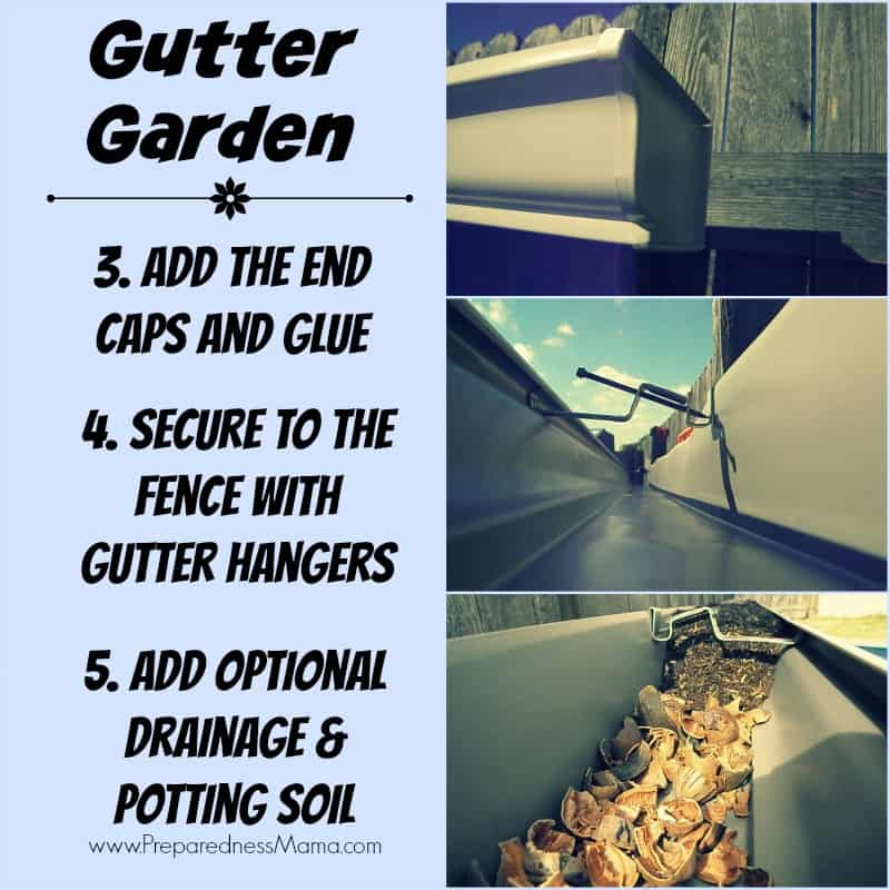 Gutter Garden DIY Ideas - end caps, gutter hangers and potting soil filler | PreparednessMama