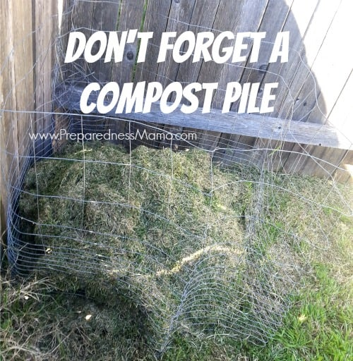 Don't forget to add a simple compost pile in your new garden. Even a simple piece of wire fencing can work in a pinch | PreparednessMama