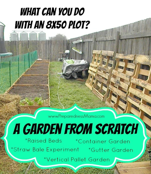 PreparednessMama is creating a garden from scratch. See how she is using gutters, raised beds, straw bales, pallets and containers to plan a garden for her family | PreparednessMama