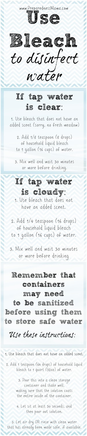 Instructions to disinfect water with bleach (sodium hypochlorite)   PreparednessMama