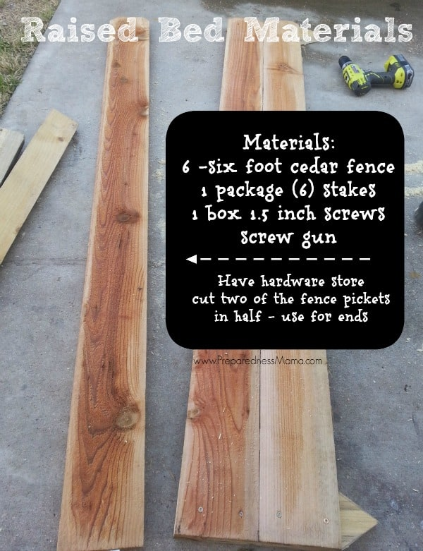 Materials needed for a raised bed garden box made with cedar fencing| PrparednessMama