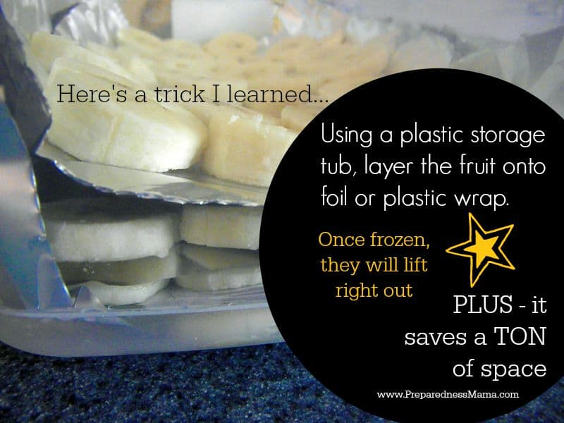 Here's a little trick I learn to freeze a lot of fruit in a small space. Using a plastic tub, player the fruit on froil or plastic wrap. Once frozen just remove each layer. You can get a lot of fruit in a small space | PreparednessMama