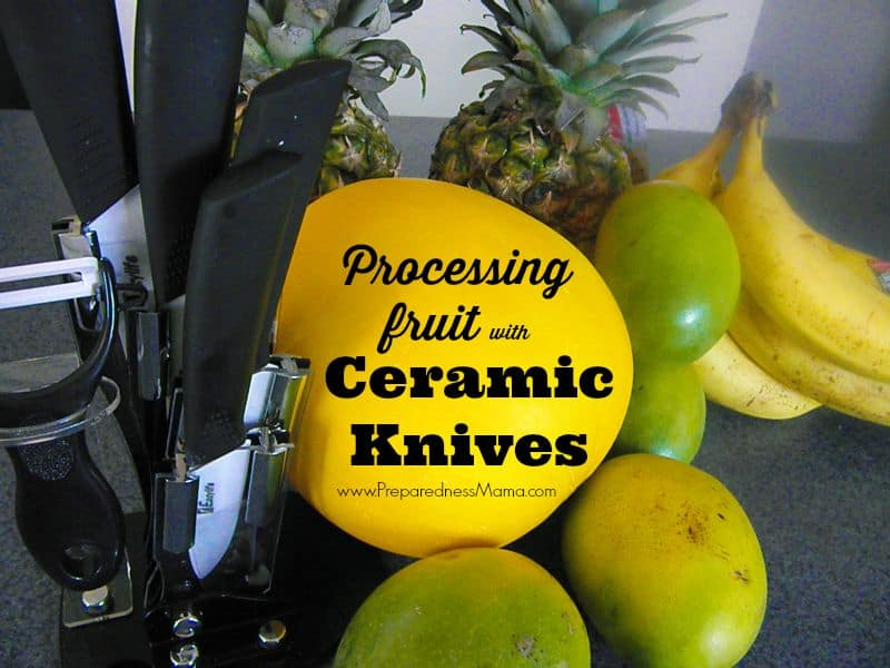 I'm using my new ceramic knives for food storage processing. First up, tropical fruit mix for smoothies | PreparednessMama