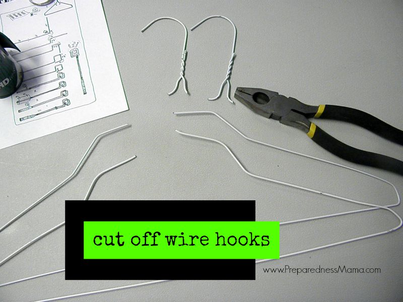 DIY Wire Toaster: Cut off the wire hooks and straighten the hangers. Cut them to the same size | PreparednessMama