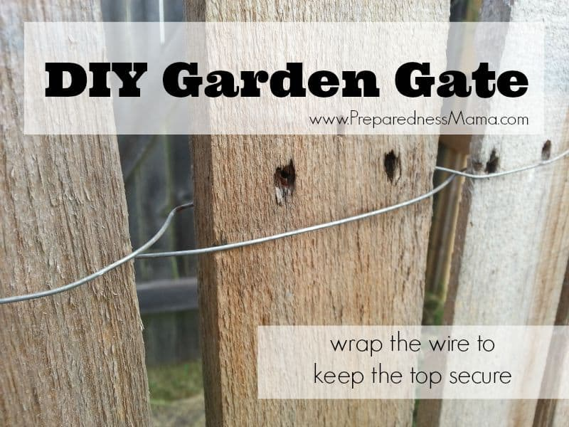 DIY Garden Gate: Wrap the wire around each plank in a figure 8 | PreparednessMama