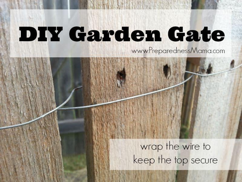 DIY Garden Gate: Wrap the wire around each plank in a figure 8 | PreparednessMama
