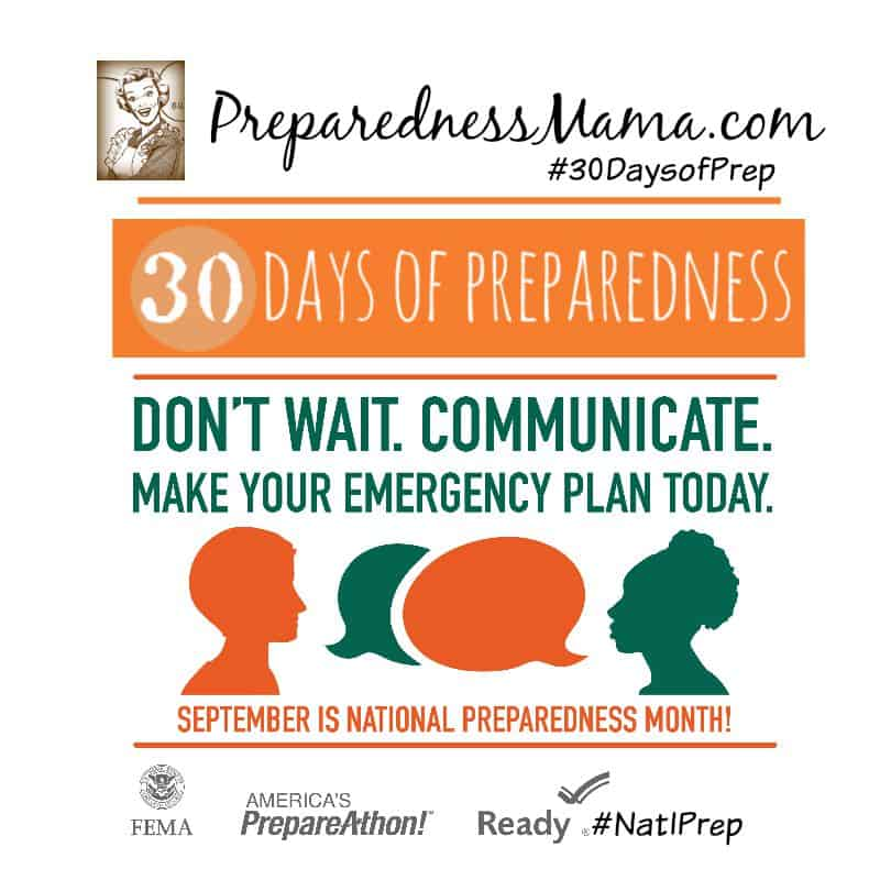 Join us for 30 Days of Preparedness this September for National Preparedness Month #NatlPrep #30aysofPrep | PreparednessMama