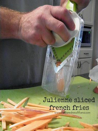 We used the mandolin slicer to cut french fry pieces   PreparednessMama