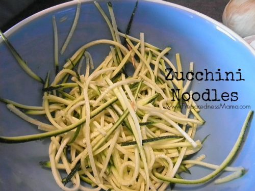 The small attachment of the mandolin slicer made thin strips. We're cooking them up for zucchini spaghetti   PreparednessMama