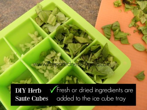 Garlic & Basil saute cubes: Add fresh or dried ingredients to individual ice cube tray compartments and then cover with olive oil | PreparednessMama