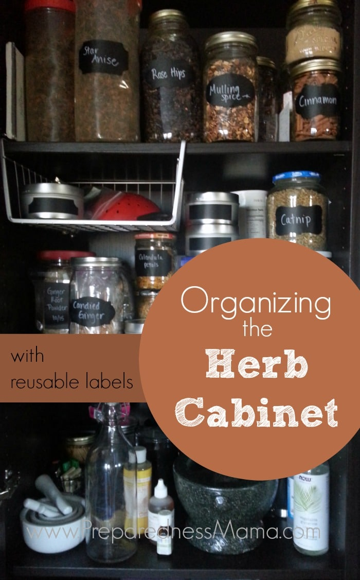 Organizing the herb cabinet with reusable labels | PreparednessMama