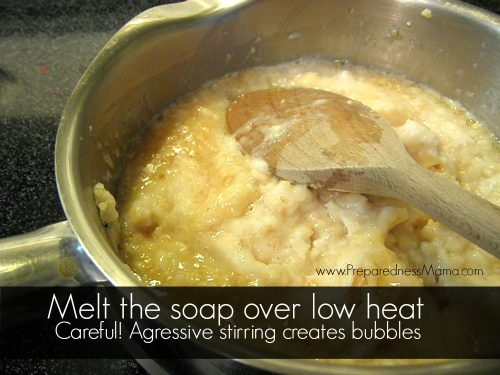 Melt your hand milled soap on low heat, stirring gently | PreparednessMama