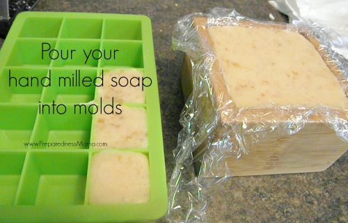 Hand Milled Soap: Pour the melted soap into molds. Any sturdy container is fair game | PreparednessMama