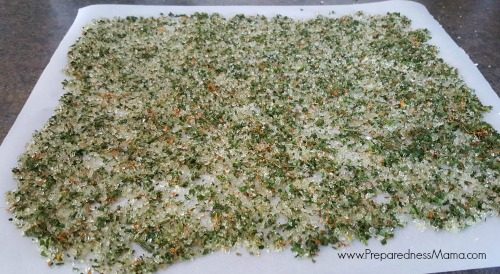 Spread the herbs and salts out on a piece of wax paper for 1 to 2 days   PreparednessMama