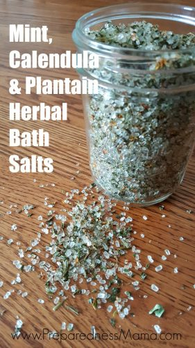 Herbal bath salts, the scent is heavenly! Once the herbs are completely dry transfer your mixture to a glass jar with a tight lid   PreparednessMama