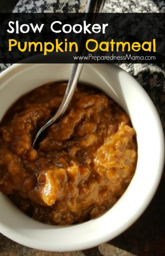Slow Cooker Pumpkin & Spice Oatmeal. Make ahead for a tasty breakfast treat | PreparednessMama