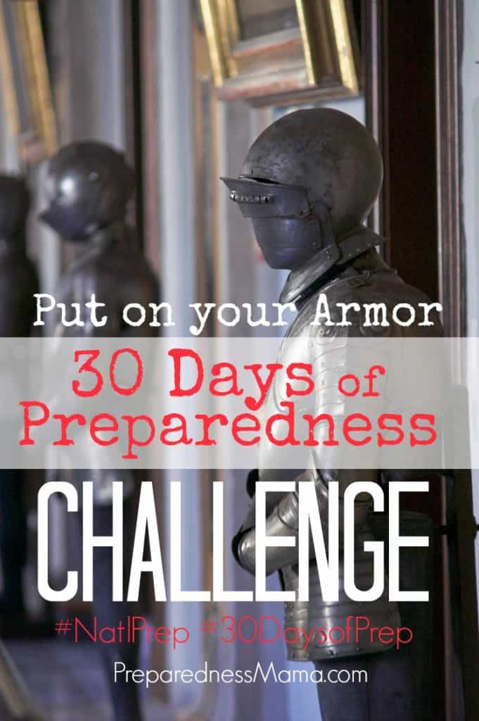Put on your armor and be prepared! Join us for this year's 30 Days of Preparedness Challenge | PreparednessMama