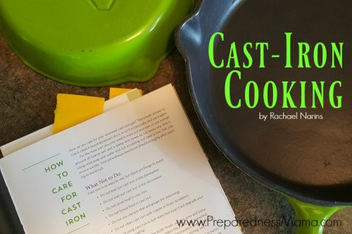 Seasoning my cast iron skillets with instructions from Cast-Iron Cooking by Rachael Narins | PreparednessMama