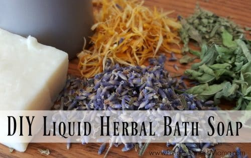 This easy DIY herbal bath soap is ready in minutes and uses herbs you already have at home. Makes a great frugal gift | PreparednessMama