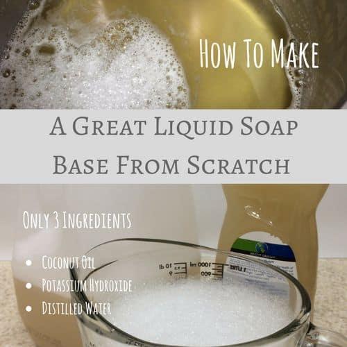 Coconut castile liquid soap base from scratch | PreparednessMama
