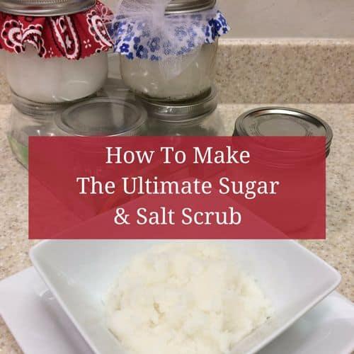 Ultimate sugar scrub is one of the ingredients in the ultimate DIY body & bath gift basket | PreparednessMama