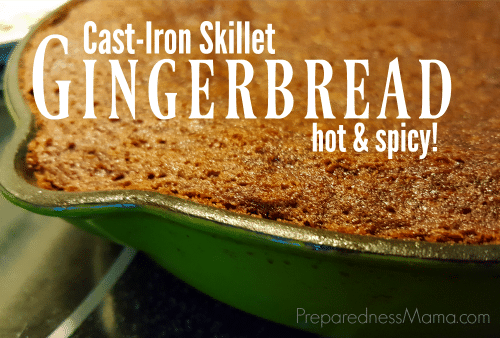 Cast Iron Skillet Gingerbread recipe is a hot and spicy holiday treat | PreparednessMama