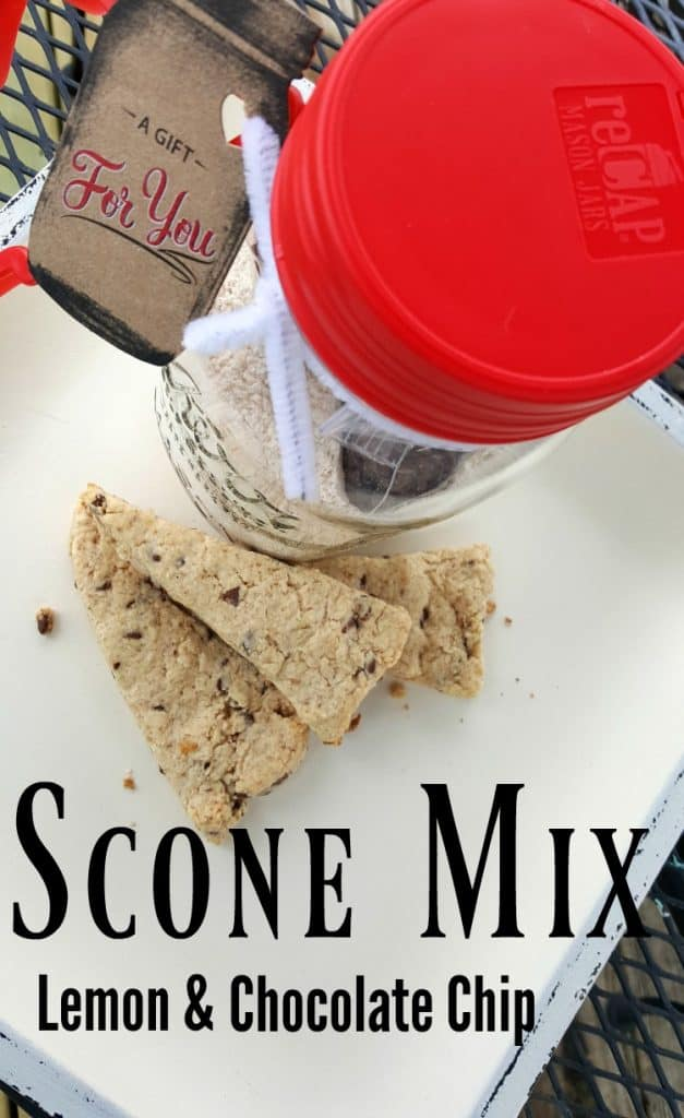 Looking for a quick and tasty gift for friends and co-workers? Lemon Chocolate Chip Scone Mix is just the thing. Package it up in a Mason jar with a reCAP Flip lid and it will be the gift that keeps on giving | PreparednessMama