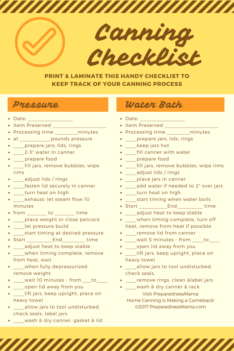 Canning Cheat Sheet