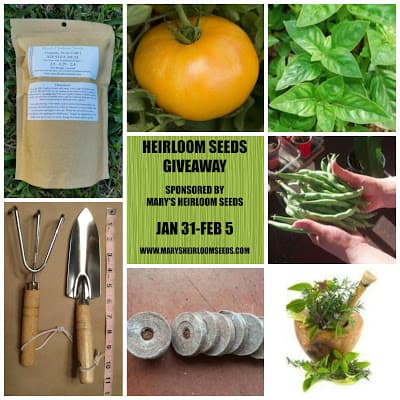 Mary's Heirloom Seeds Giveaway January 2017