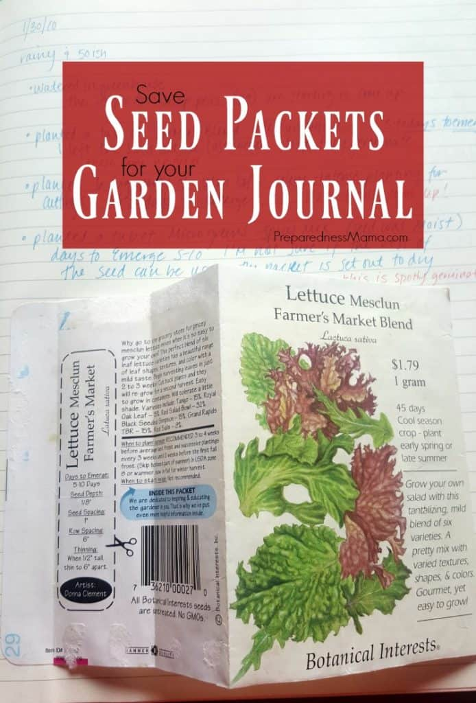 Save seed packets to gather information for your garden journal   PreparednessMama